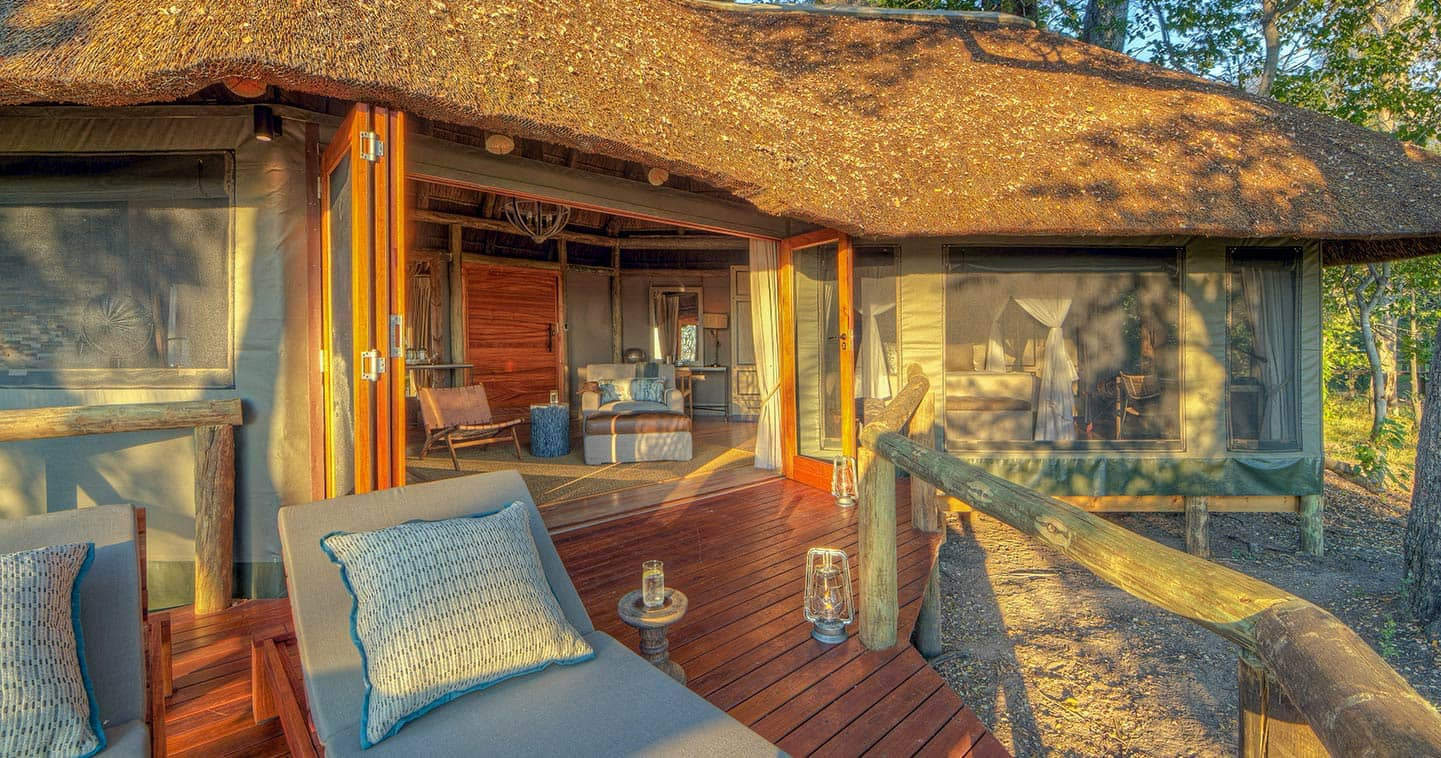 Enjoy a luxury safari at Camp Moremi in the Moremi Game Reserve