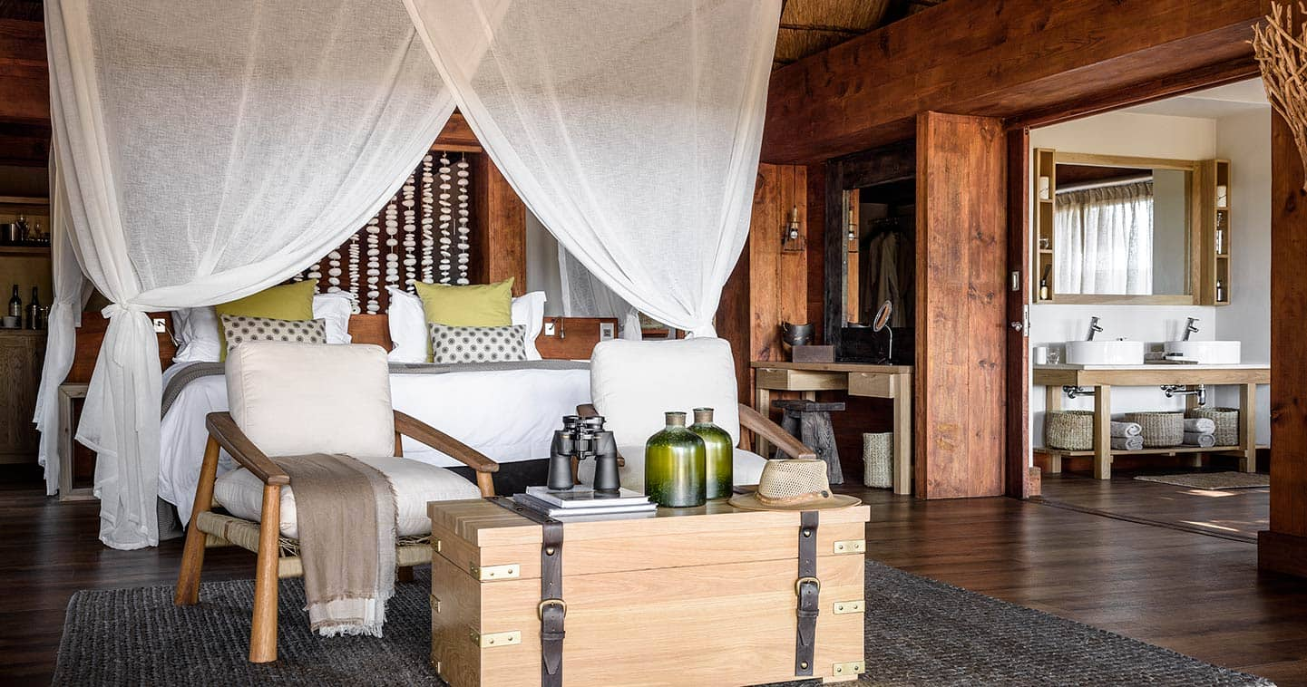 Enjoy the Luxury Bedroom at Sanctuary Chiefs Camp in the Moremi Game Reserve