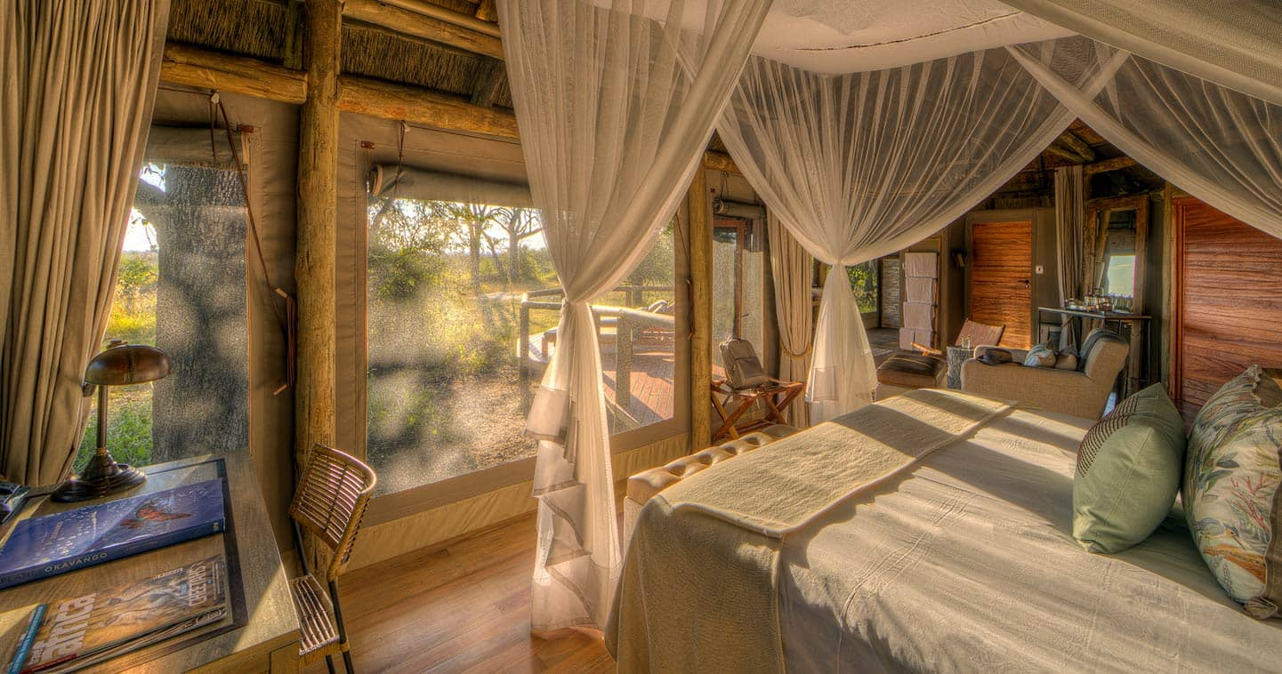 Enjoy the luxury bedroom at Camp Moremi