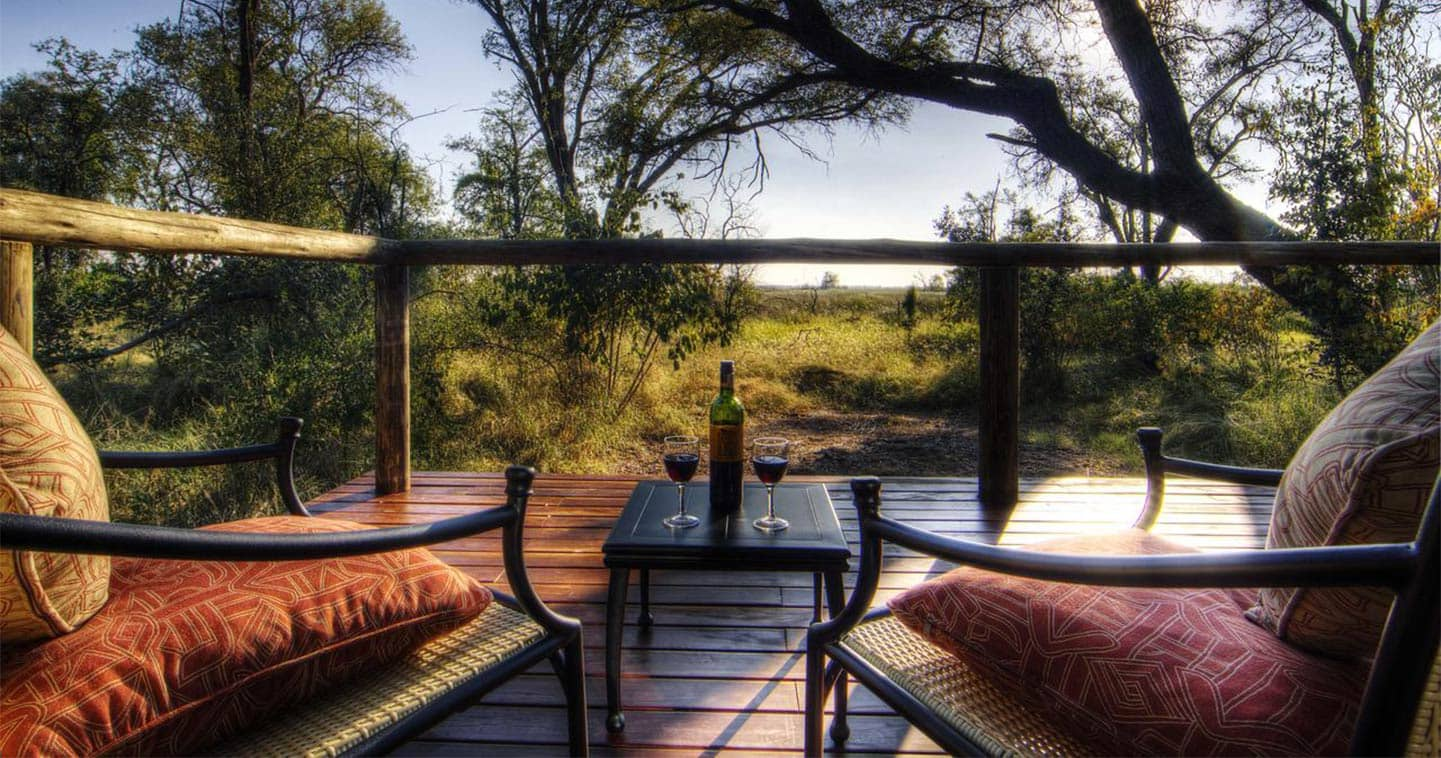 Enjoy the Sunset in Camp Moremi in the Moremi Game Reserve