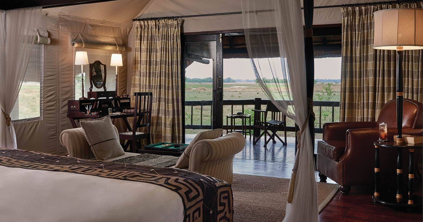 Enjoy the luxury bedroom at Belmond Khwai River Lodge