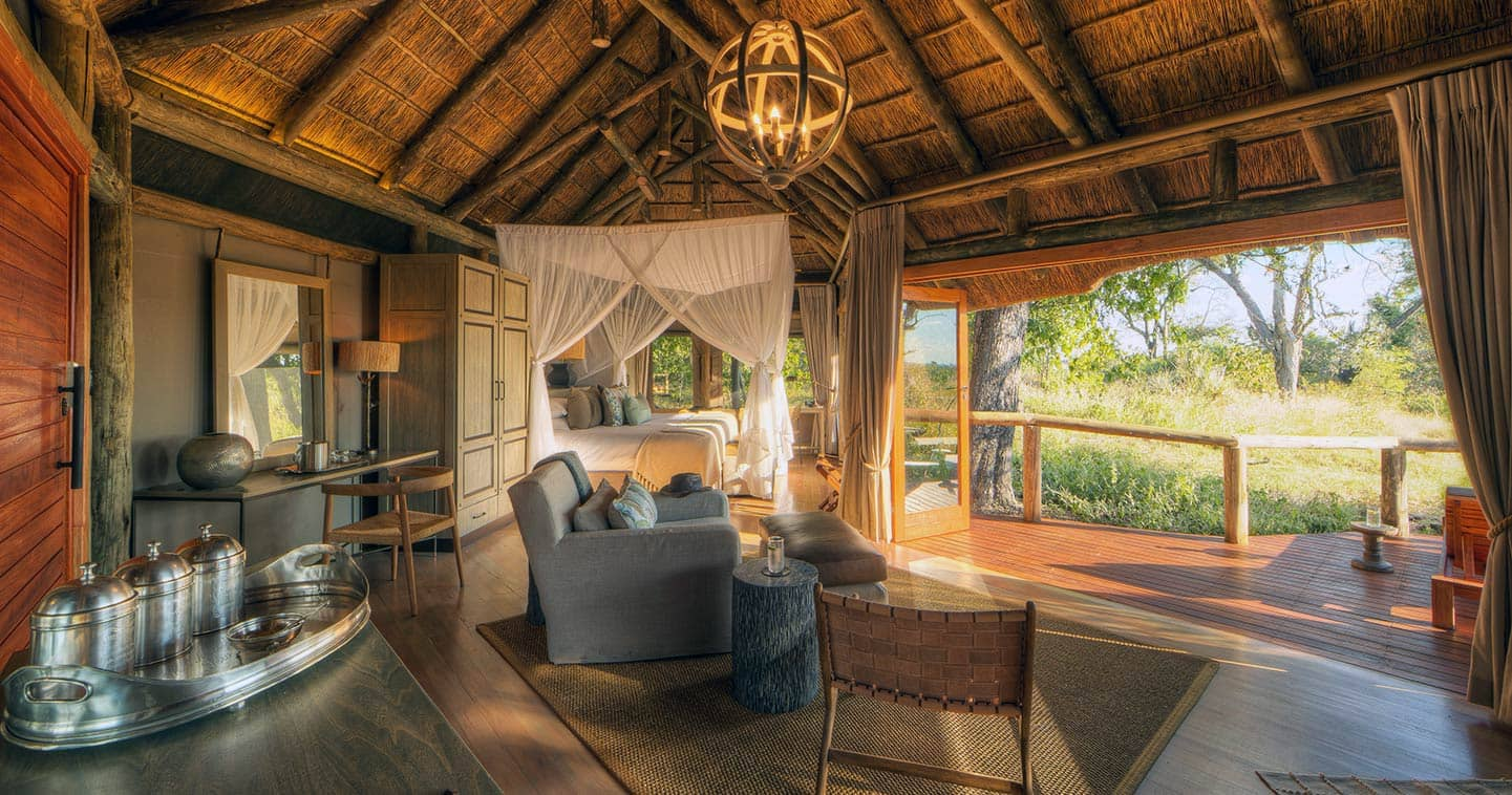 Luxury Lodge Accommodation Lounge at Camp Moremi