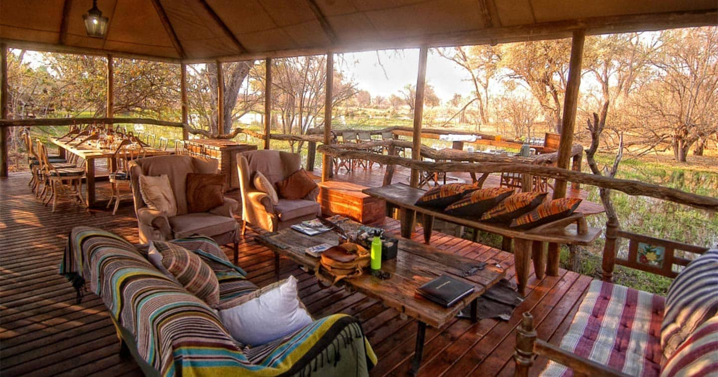 Luxury Lodge Accommodation Lounge at Khwai Tented Camp
