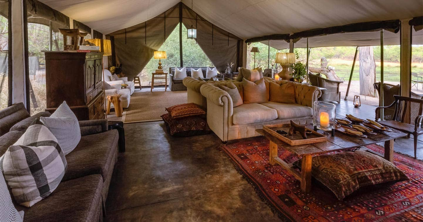 Luxury Lodge Accommodation Lounge at Machaba Camp