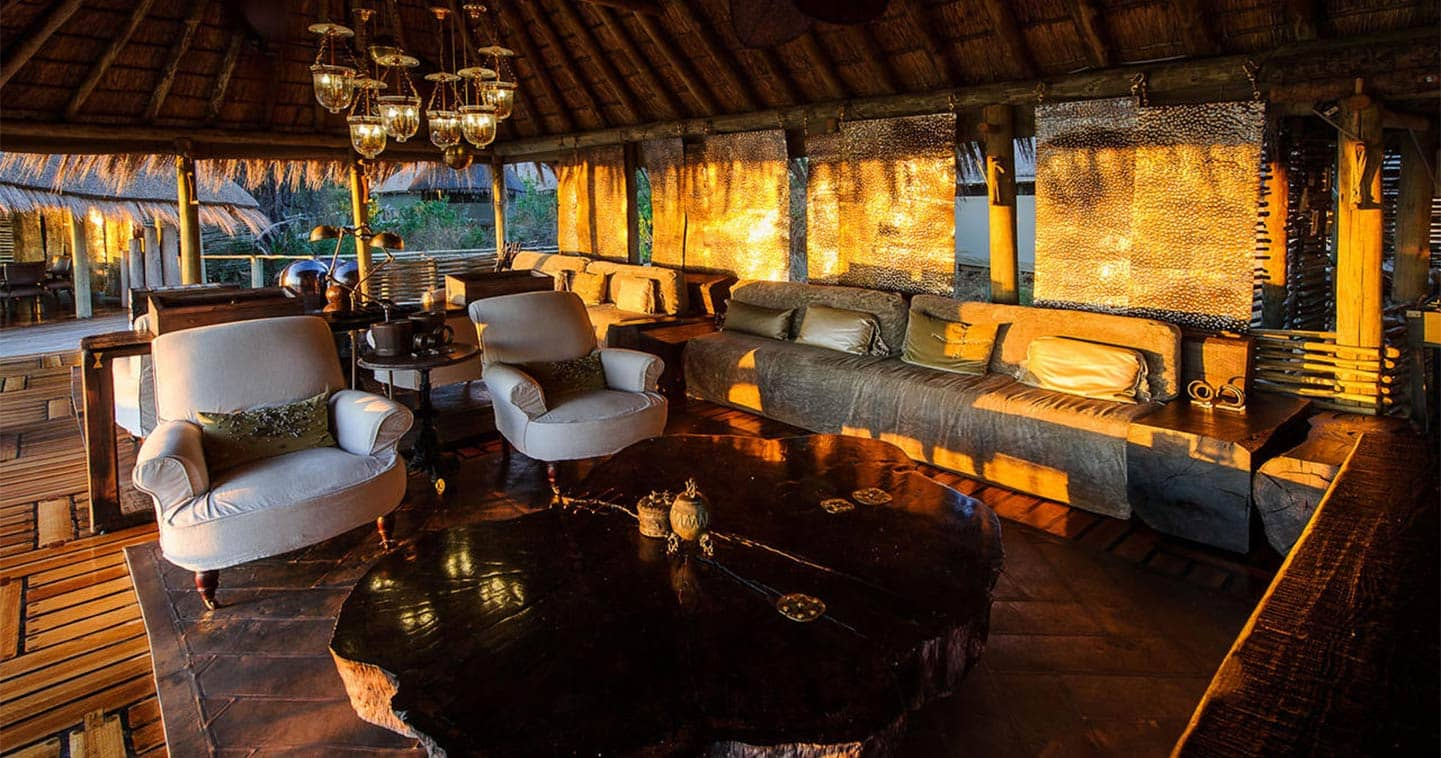 The Lounge at Mombo Camp in the Moremi Game Reserve in Botswana