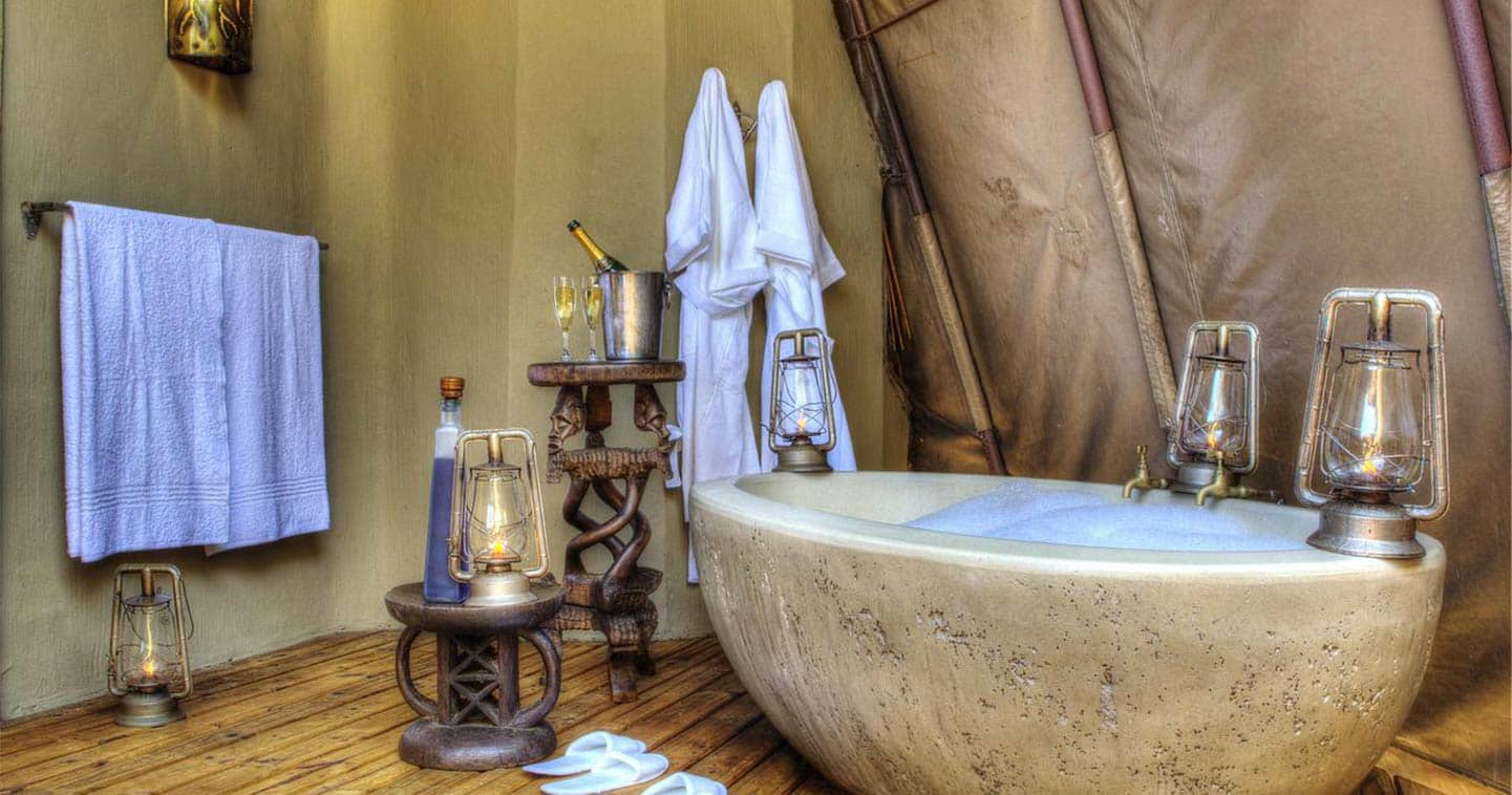 Camp Okuti Bathroom in Moremi Game Reserve