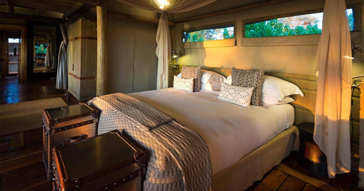 Luxury Mombo Camp Bedroom in the Moremi Game Reserve