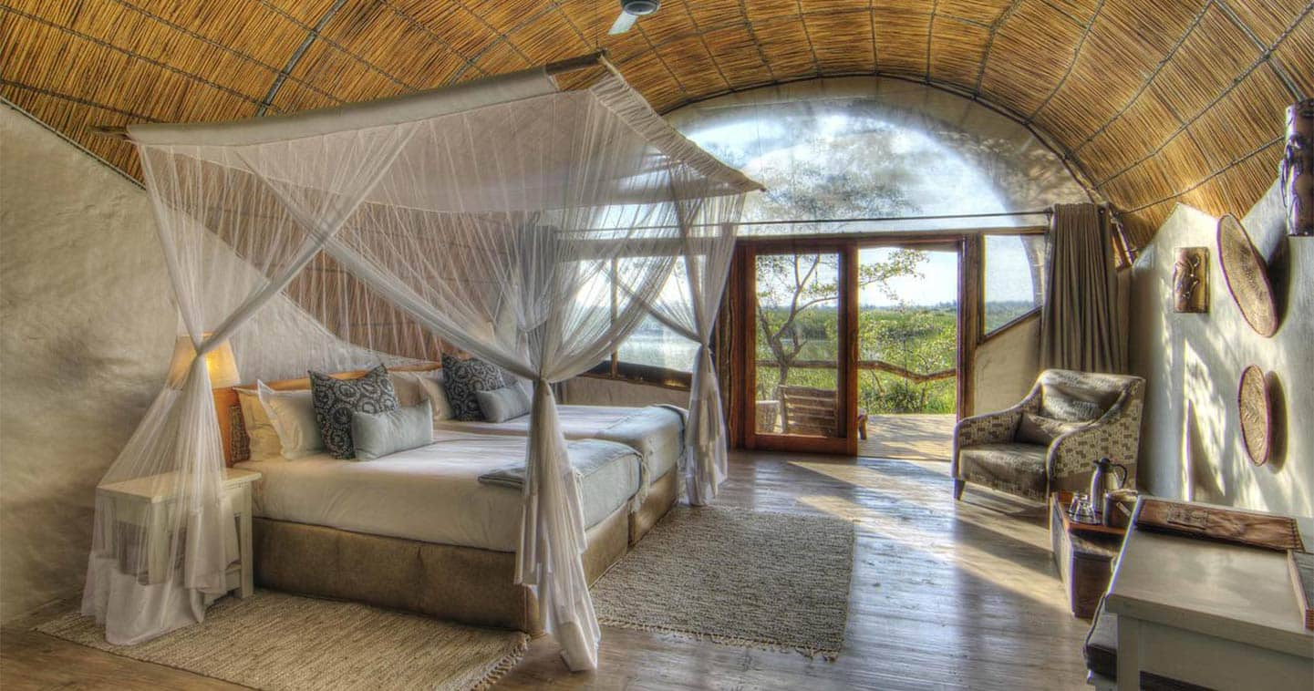 Luxury Safari Bedroom at Camp Okuti in the Moremi Game Reserve