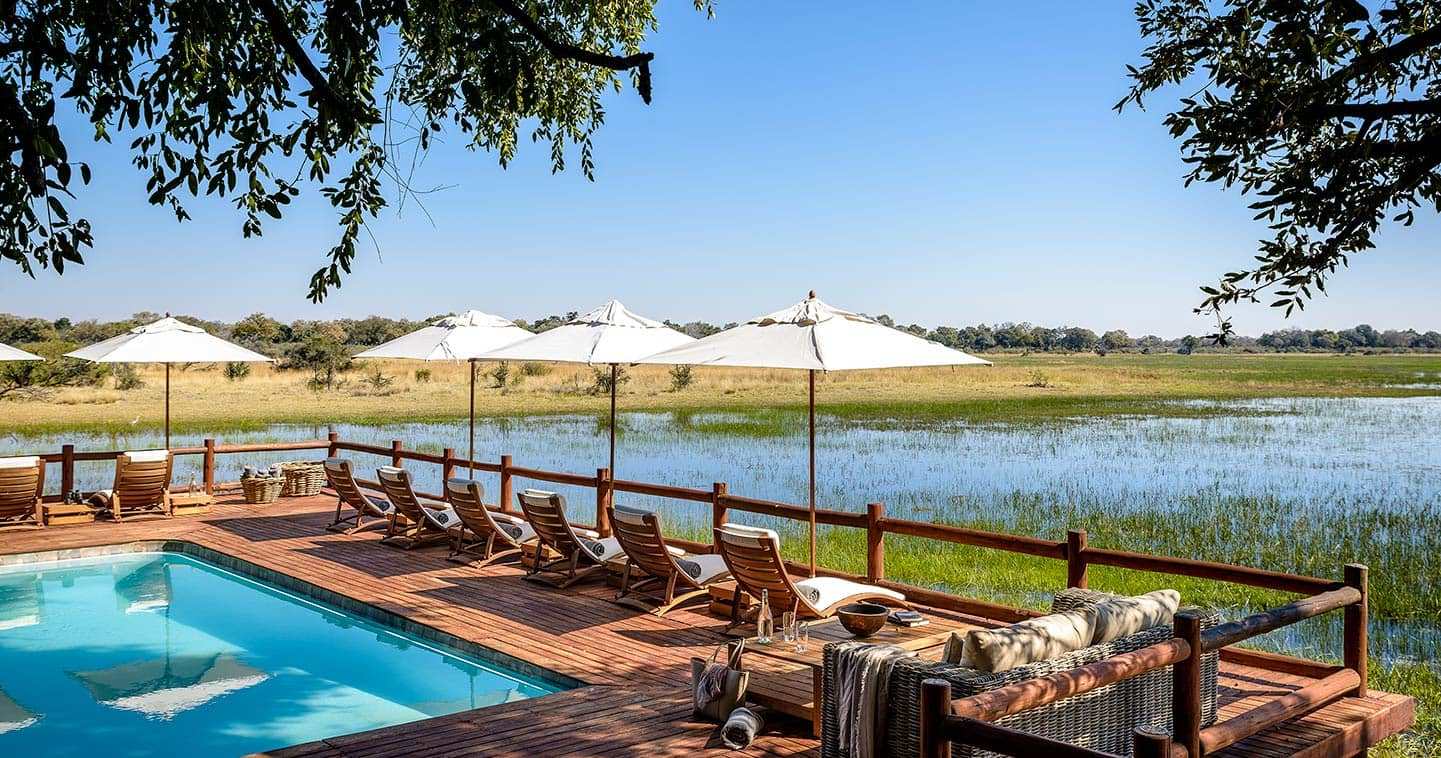 Pool at Sanctuary Chiefs Camp in the Moremi Game Reserve in Botswana