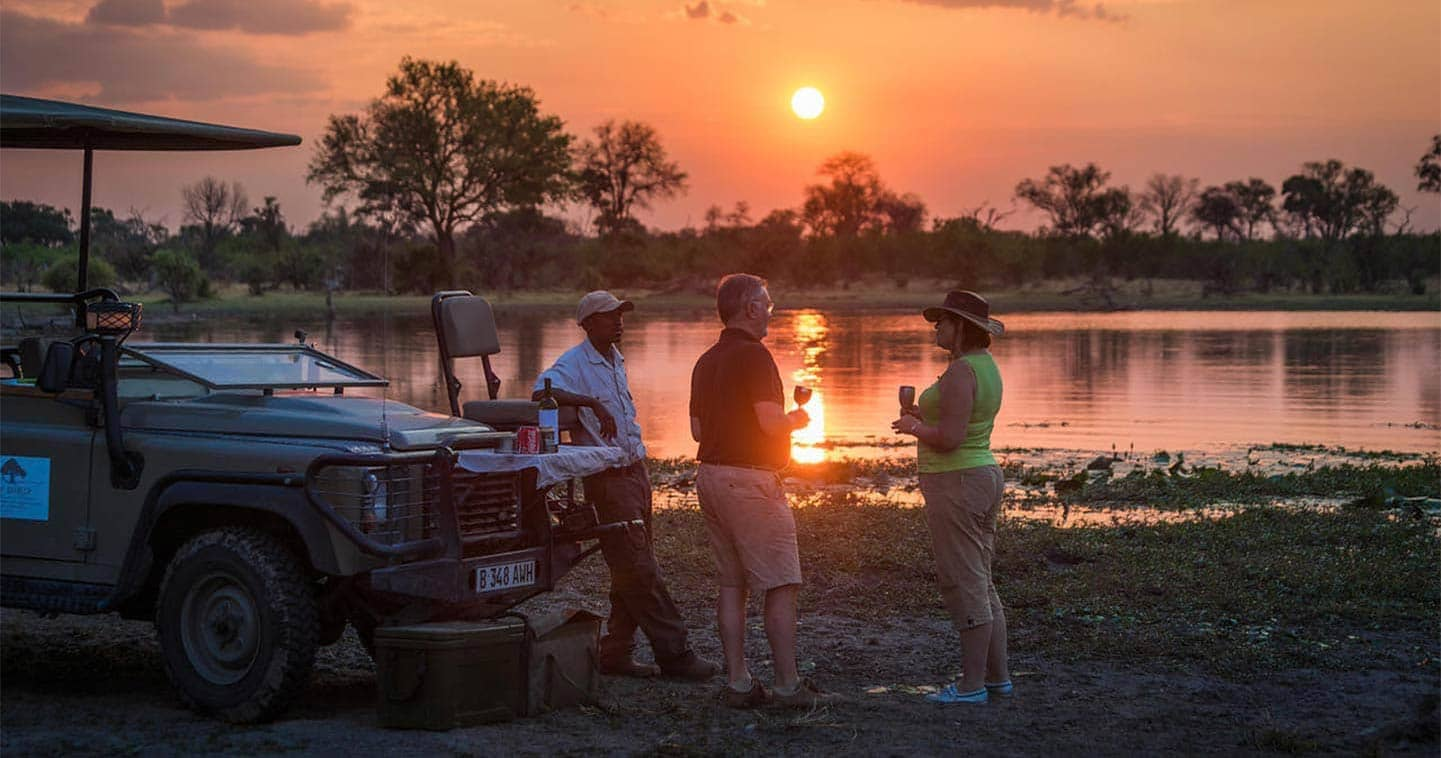 Enjoy the Sunset in Machaba Camp in the Moremi Game Reserve