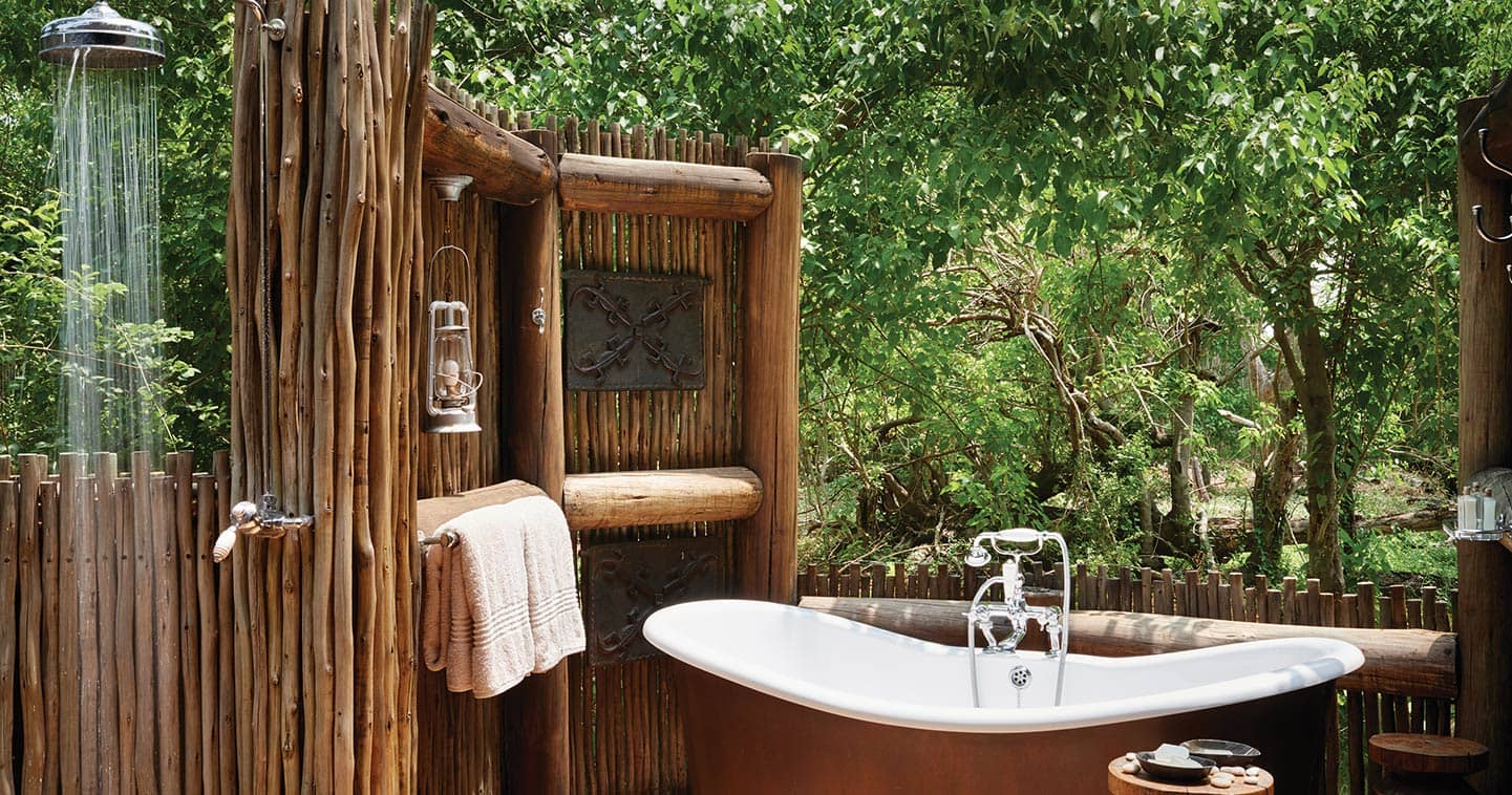 Belmond Khwai River Lodge Outdoor Bathroom in Moremi Game Reserve