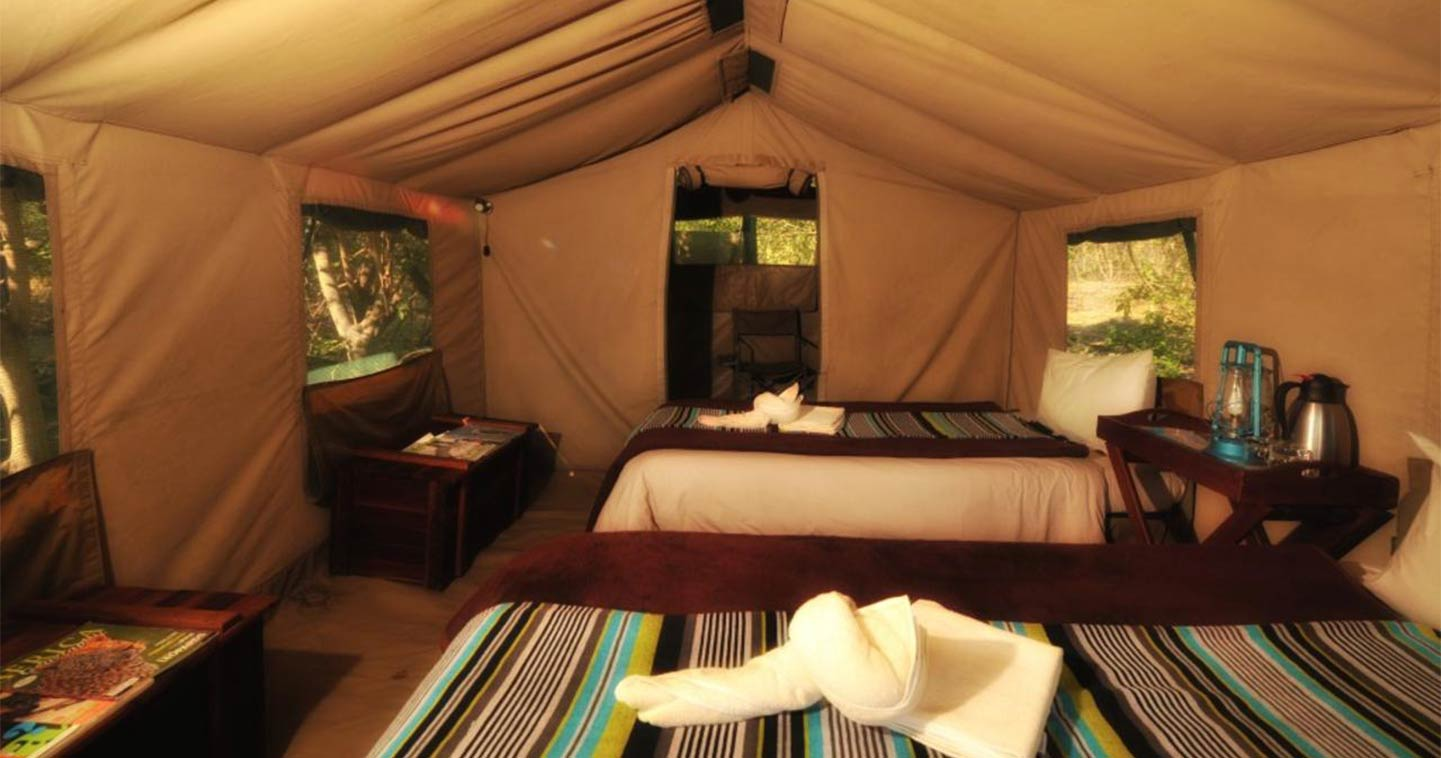 Bedroom at Khwai Tented Camp in the Moremi Game Reserve