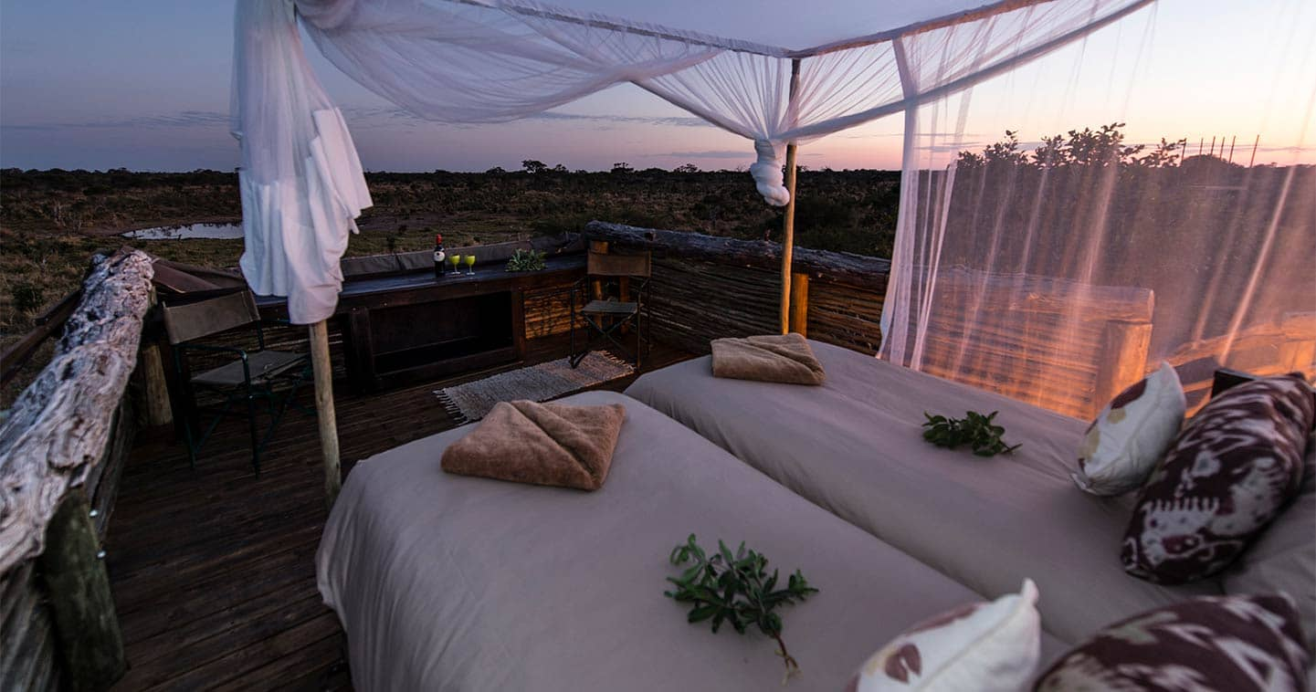 Bedroom at Skybeds for a luxury Botswana safari